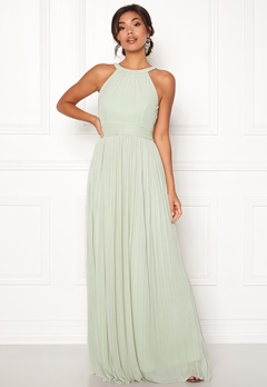 Moments New York Linnea Pleated Gown Grey-green Bubbleroom.fi