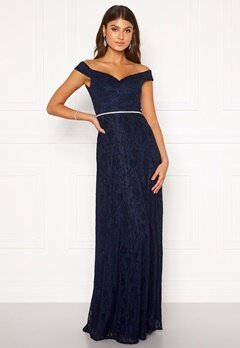 Moments New York Melina Lace Gown Navy Bubbleroom.fi