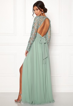 Moments New York Primrose Crochet Gown Grey-green Bubbleroom.fi