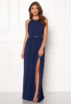 Moments New York Rose Draped Gown Dark blue Bubbleroom.fi