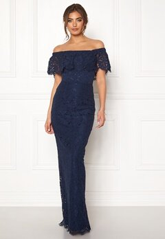 Moments New York Rose Lace Gown Dark blue Bubbleroom.fi
