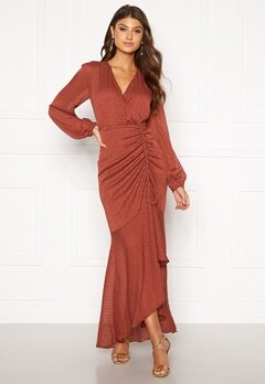 Moments New York Thea Dotted Gown Rust Bubbleroom.fi