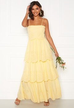 Moments New York Vera frill gown Light yellow Bubbleroom.fi