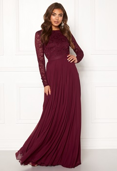 Moments New York Zaria Pleated Gown Wine-red Bubbleroom.fi