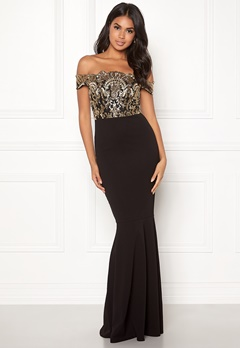 Moments New York Francine Sequin Gown Black / Gold Bubbleroom.fi