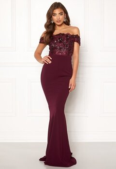 Moments New York Francine Sequin Gown Wine-red Bubbleroom.fi