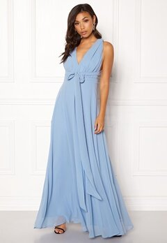 Goddiva Multi Tie Chiffon Dress Blue Bubbleroom.fi
