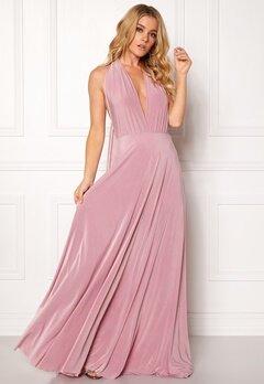 Goddiva Multi Tie Maxi Dress Dusty Pink Bubbleroom.fi