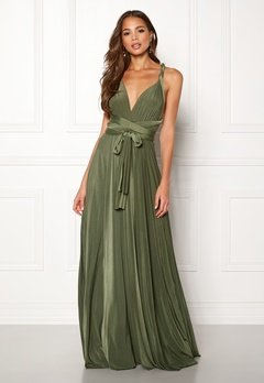 Goddiva Multi Tie Maxi Dress Olive Green Bubbleroom.fi