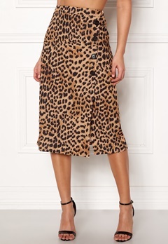 New Look Animal Asym Button Skirt Brown Pattern Bubbleroom.fi