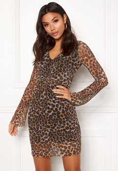 New Look Animal Plisse Twist Dress Brown Pattern Bubbleroom.fi