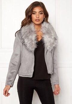 New Look Ava Shawl Collar Suedette Grey Bubbleroom.fi