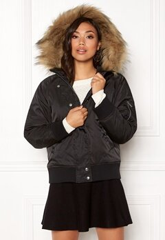 New Look Denham Fur Hood Bomber Black Bubbleroom.fi