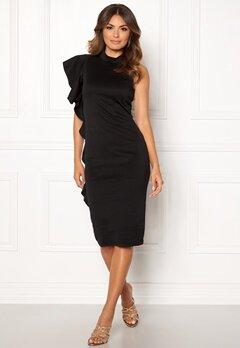 New Look Go Frill Bodycon Dress Black Bubbleroom.fi