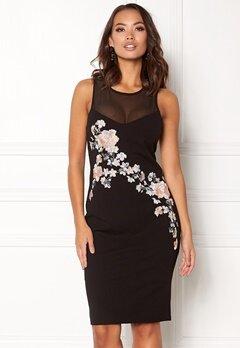 New Look Go Prem Mesh Insert Dress Black Pattern Bubbleroom.fi