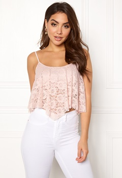 New Look Lace Hanky Crop Shell Pink Bubbleroom.fi