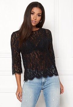 New Look Lace Zip Back Sleeve Tee Black Bubbleroom.fi