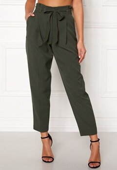 New Look Miller Tie Waist Trousers Mid Green Bubbleroom.fi