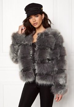 New Look Pelted Fur Short Coat Grey Bubbleroom.fi