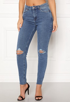 New Look Ripped Cut Off Jeans Mid Blue Bubbleroom.fi