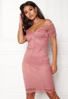 New Look Scallop Bardot Midi Dress Shell Pink Bubbleroom.fi