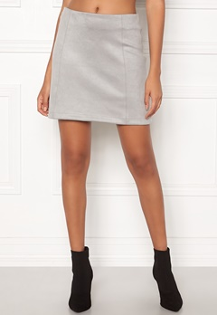 New Look Seam Suedette Mini Skirt Pale Grey Bubbleroom.fi