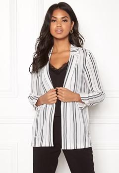 New Look Soft Crepe Stripe Blazer White Pattern Bubbleroom.fi