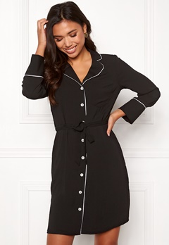 New Look Piped Belted Dress Black Pattern Bubbleroom.fi