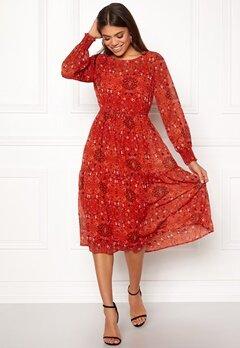 VILA Nilah L/S Midi Dress Orange Com Bubbleroom.fi