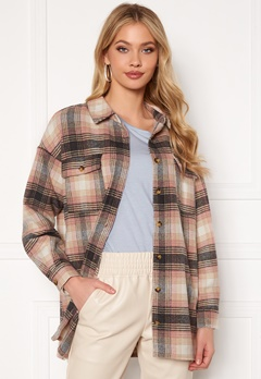 Noisy May Fanny L/S Long Shacket Bright White Checks: Bubbleroom.fi