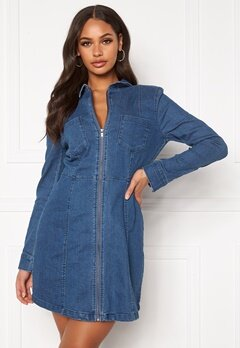 Noisy May Lisa Denim Zip Dress Medium Blue Denim Bubbleroom.fi