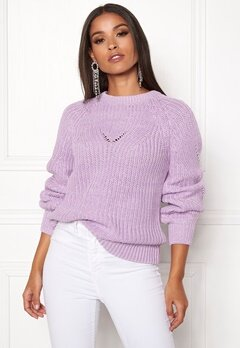 OBJECT Arianna L/S Knit Pullover Orchid Bloom Bubbleroom.fi