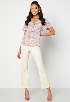 Object Collectors Item Belle MW Coated Flared Pants Sandshell bubbleroom.fi