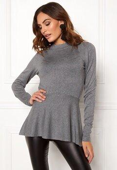 OBJECT Carin L/S Knit Pullover Medium Grey Melange Bubbleroom.fi