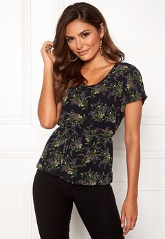 OBJECT Caroline S/S V-neck Top Black/Small Flowers Bubbleroom.fi