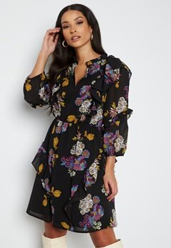 Object Collectors Item Mila 3/4 Dress Black AOP Flower bubbleroom.fi