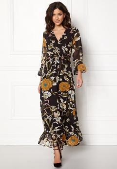 OBJECT Fabrice L/S Long Dress Black/Floral Bubbleroom.fi