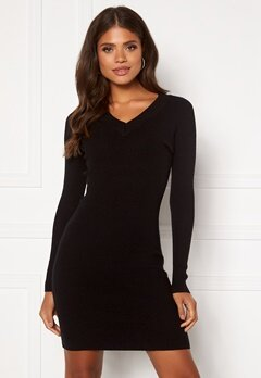 OBJECT Fae Thess L/S Rib Knit Dress Black Bubbleroom.fi