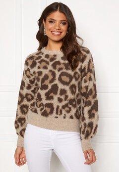 OBJECT Leoana L/S Knit Pullover Humus Pattern:leo Bubbleroom.fi