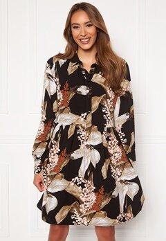 OBJECT Liliti L/S Short Dress Black AOP Bubbleroom.fi