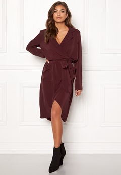 OBJECT Nell L/S Long Dress Chocolate Truffle Bubbleroom.fi
