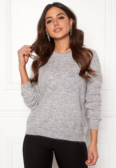 OBJECT Nete L/S Knit O-neck Pullover Light Grey Melange Bubbleroom.fi