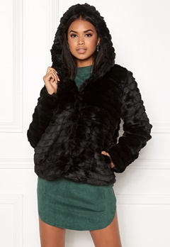 OBJECT Sandie Faux Fur Jacket Black Bubbleroom.fi