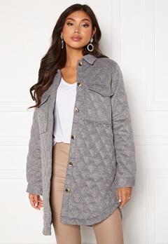 OBJECT Vera owen long quilt jacket Medium Grey Melange Bubbleroom.fi