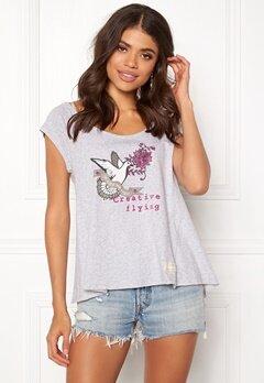 Odd Molly Print Love T-shirt Grey Melange Bubbleroom.fi