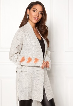Odd Molly Upbeat Long Cardigan Light Grey Melange Bubbleroom.fi