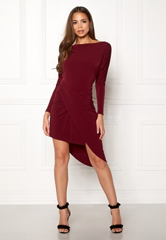 John Zack Off Shoulder Dress Wine Bubbleroom.fi