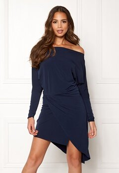 John Zack Off Shoulder Dress Navy Bubbleroom.fi