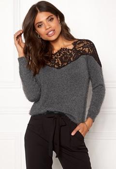 ONLY Ally L/S Pullover Knit Dark Grey Melange Bubbleroom.fi