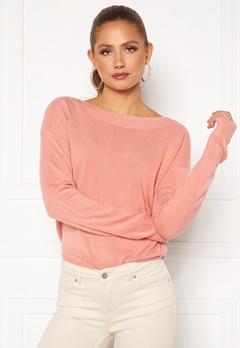 ONLY Amalia L/S Boatneck Pullover Blush Bubbleroom.fi